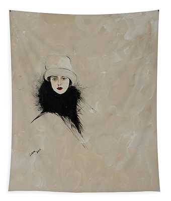 Lady With Black Fur Tapestry
