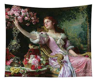 Lady With Flowers Tapestry