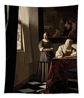 Lady Writing A Letter With Her Maid Tapestry