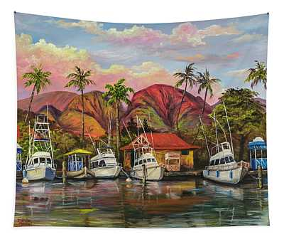Lahaina Harbor Sunset Tapestry