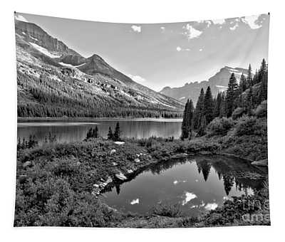 Lake Josephine Summer Sunset Black And White Tapestry