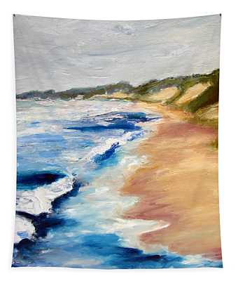 Lake Michigan Beach With Whitecaps Detail Tapestry