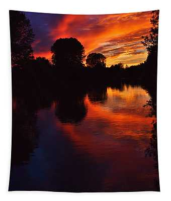 Lake Sunset Reflections Tapestry