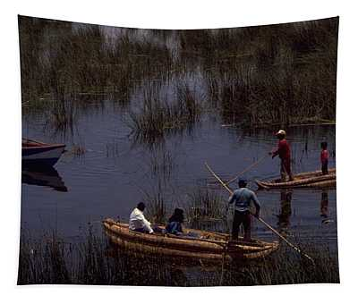 Tapestry featuring the photograph Lake Titicaca Reed Boats by Travel Pics