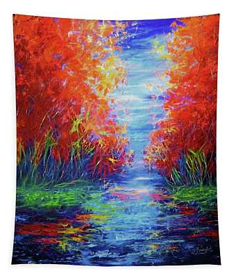 Olena Art Lake View Abstract Artwork Tapestry