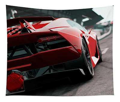 Lamborghini Sesto Elemento - Rear View Tapestry by Andrea Mazzocchetti