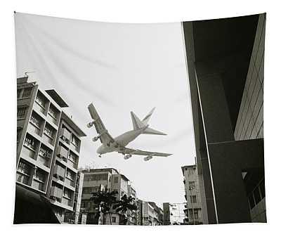 Landing In Hong Kong Tapestry