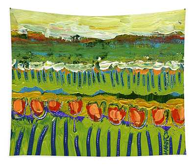 Landscape In Green And Orange Tapestry