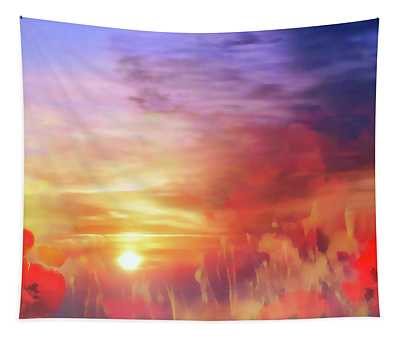 Landscape Of Dreaming Poppies Tapestry