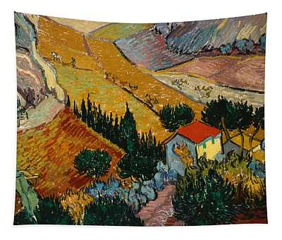 Tapestry featuring the painting Landscape With House And Ploughman by Van Gogh