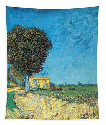 Tapestry featuring the painting Lane Near Arles by Van Gogh