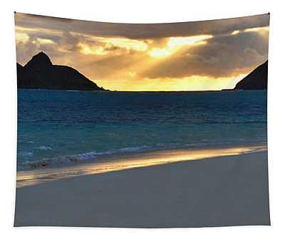 Lanikai Beach Sunrise Panorama - Kailua Oahu Hawaii Tapestry