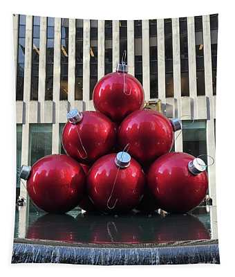 Large Red Ornaments Tapestry