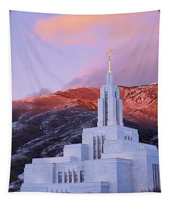 Last Light At Draper Temple Tapestry
