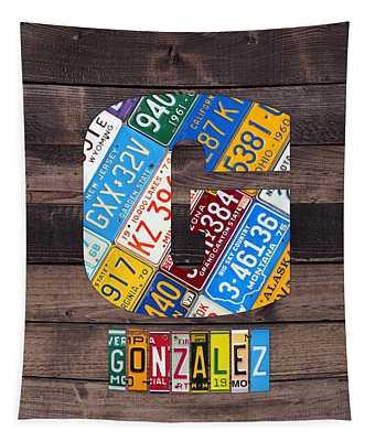 Last Name Letter G Monogram License Plate Art Custom Tapestry