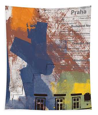 Last Train To Prague- Art By Linda Woods Tapestry
