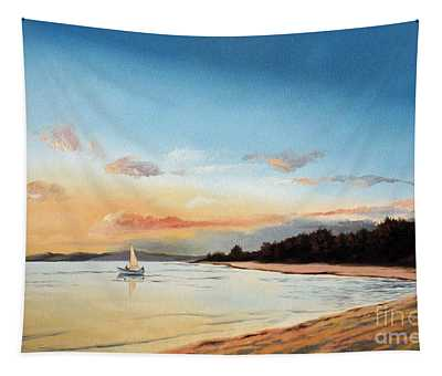 Late Sunset Along The Beach Tapestry