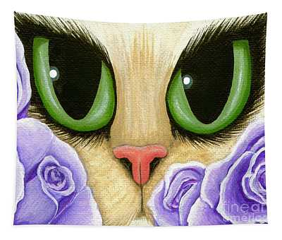 Lavender Roses Cat - Green Eyes Tapestry