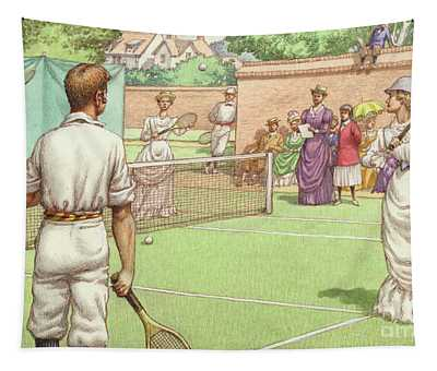Lawn Tennis Being Played In The Victorian Age Tapestry
