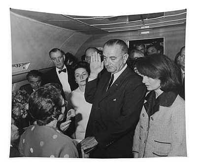 Lbj Taking The Oath On Air Force One Tapestry