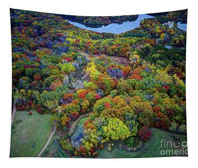Lebanon Hills Park Eagan Mn Autumn II By Drone Tapestry