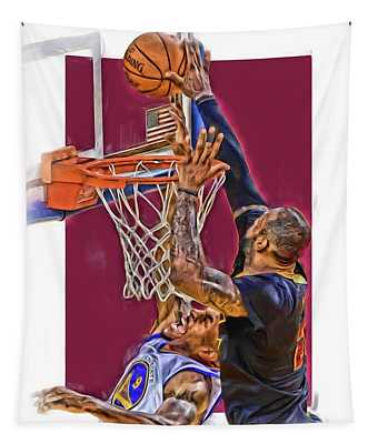 Lebron James Cleveland Cavaliers Oil Art Tapestry