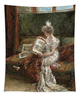 Leonie Garrido Looking At An Album Of Prints Tapestry