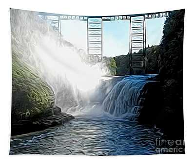 Letchworth State Park Upper Falls And Railroad Trestle Abstract Tapestry