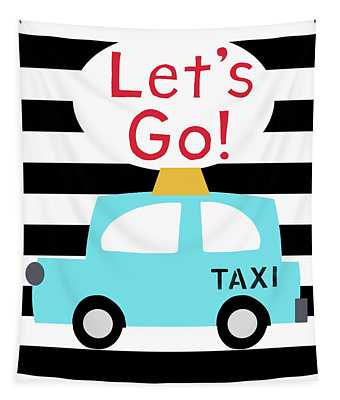 Let's Go Taxi- Art By Linda Woods Tapestry
