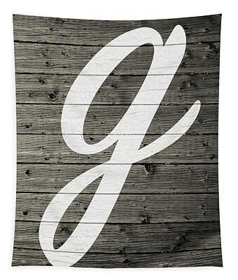 Letter G White Paint Peeling From Wood Planks Tapestry