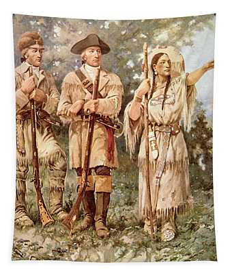 Lewis And Clark With Sacagawea Tapestry