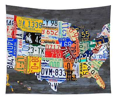 License Plate Map Of The Usa On Gray Distressed Wood Boards Tapestry
