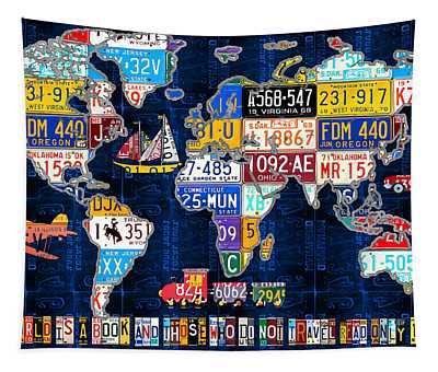 License Plate Map Of The World Travel Recycled Vintage Art With Augustine Quote Tapestry