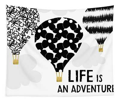 Life Is An Aventure Hot Air Balloon- Art By Linda Woods Tapestry