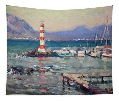 Lighthouse At Dilesi Harbor Greece Tapestry