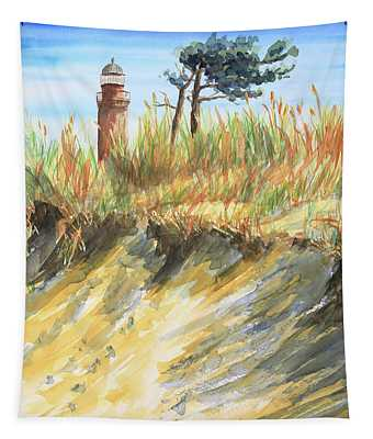 Lighthouse At The Beach Tapestry