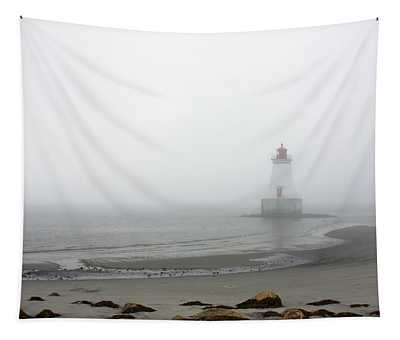 Lighthouse In The Fog Tapestry