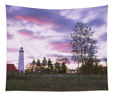 Lighthouse On A Landscape, Tawas Point Tapestry