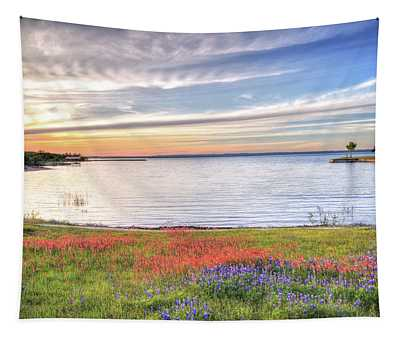 Lighthouse Sunset At Lake Buchanan Tapestry