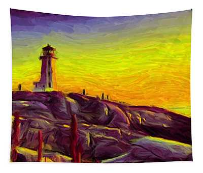 Lighthouse Sunset Tapestry