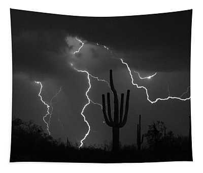 Lightning Storm Saguaro Fine Art Bw Photography Tapestry