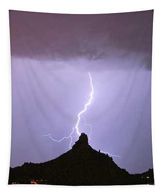 Lightning Striking Pinnacle Peak Scottsdale Az Tapestry
