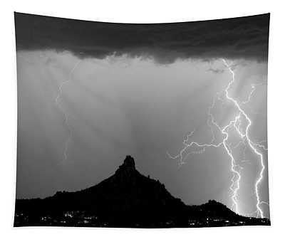 Lightning Thunderstorm At Pinnacle Peak Bw Tapestry