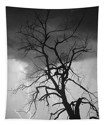 Lightning Tree Silhouette Portrait Bw Tapestry