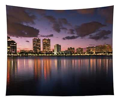 Lights At Night In West Palm Beach Tapestry