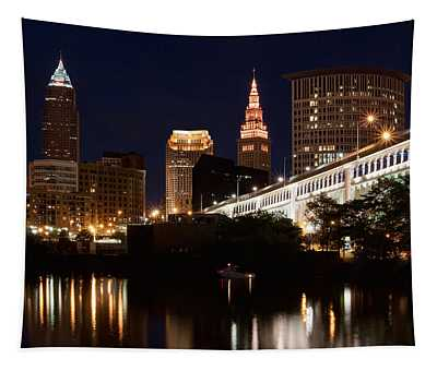 Lights In Cleveland Ohio Tapestry