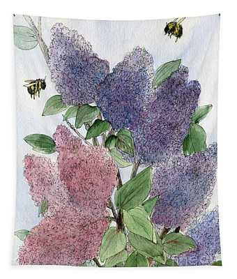 Lilacs And Bees Tapestry