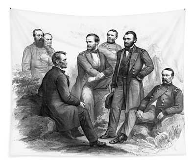 Lincoln And His Generals Black And White Tapestry