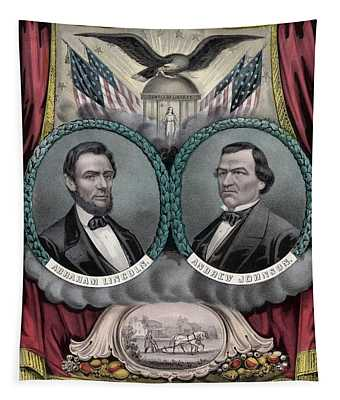 Lincoln And Johnson Election Banner 1864 Tapestry