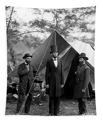 Lincoln At Antietam Battle  1862 Tapestry